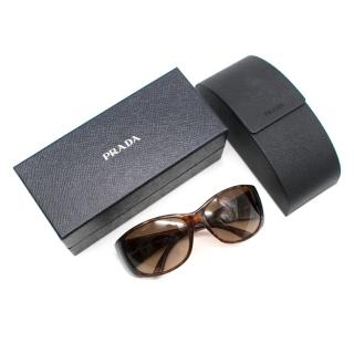 Prada Brown Tortoiseshell Sunglasses with Metal Detail