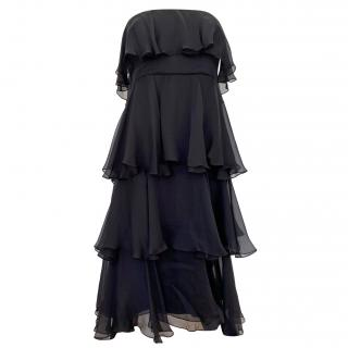 Thomas Wylde Silk Black Tiered Strapless Dress