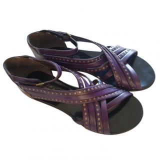 Robert Clergerie Purple Leather Crossover Studded Sandals