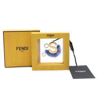Fendi Metal/MinkGold & Pacific Letter S Pendant