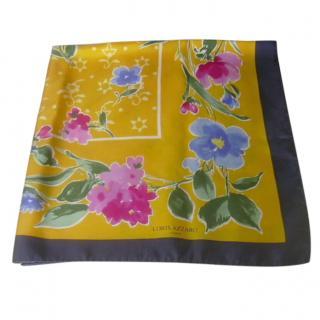 Azzaro Yellow Floral Print Silk Scarf