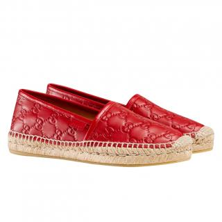 Gucci Red Monogram Leather Espadrilles