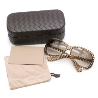 Bottega Oversized Gingham Sunglasses