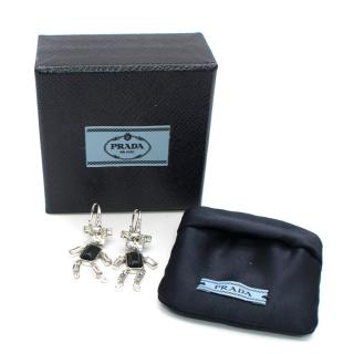 Prada Silver Metal Robot Earrings Black Saffiano Leather