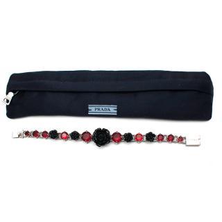 Prada Black Roses and Red Crystals Silver Tone Bracelet