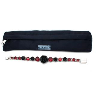 Prada Black Roses and Red Crystals Silver Tone Bracelet
