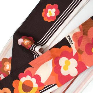 Fendi Printed Peach and Pink Twilly