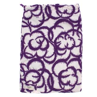 Prada Nylon Purple and White Floral Tie Bag/Pouch
