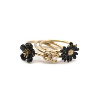 Chanel Set of Three Gold Tone Enamel Stacking Rings