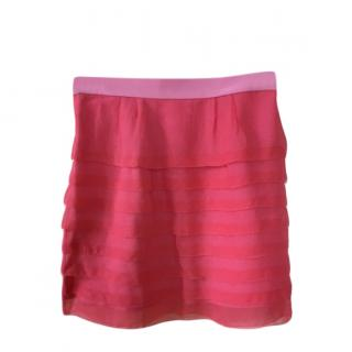 Balenciaga silk pink tiered mini skirt