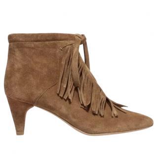 Maje Suede Frange Ankle Boots