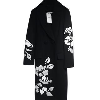 Fendi Black & White Floral Wrap Coat