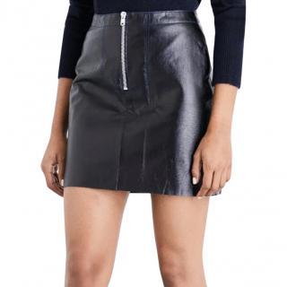 Sandro Lambskin Zip-Front Skirt
