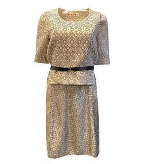 Marni Silk & Wool Beige Floral Dress