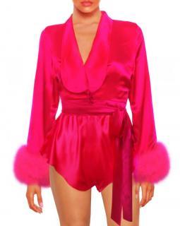 Maguy de Chadirac Pink Satin Cropped Wrap Pyjama Top