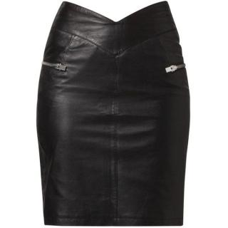 Supertrash Black Leather Satanic Skirt