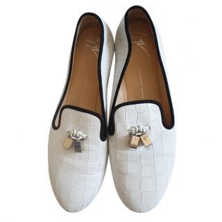 Giuseppe Zanotti White crocodile print loafers