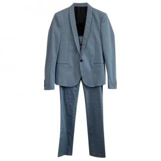 The Kooples Blue Satin Fitted Men's Suit