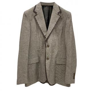 Salvatore Ferragamo Cashmere Blend Micro Houndstooth Jacket
