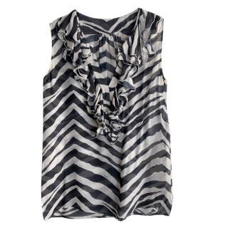 Emilio Pucci Zebra Print Ruffled Chiffon Top