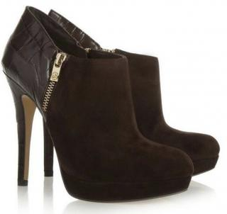 Michael Michael Kors croc-effect leather and suede ankle boots