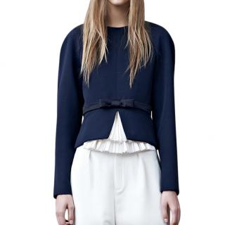 Chloe Navy Structured Bow Detail Top