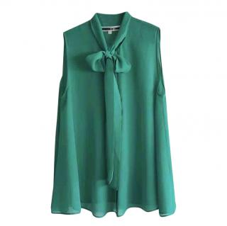 McQ by Alexander McQueen Green Pussy Bow Sleeveless Top