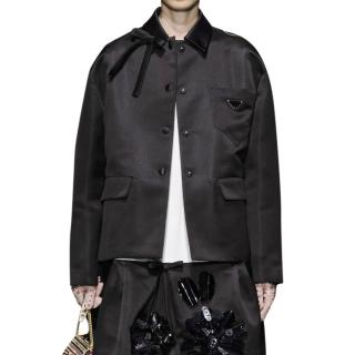 Prada Black Technical Satin Runway Jacket