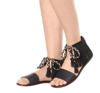 See by Chloe Fringed Leather & Suede Sandals