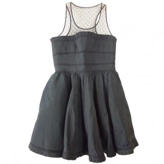 Red Valentino black mesh top fit and flare dress