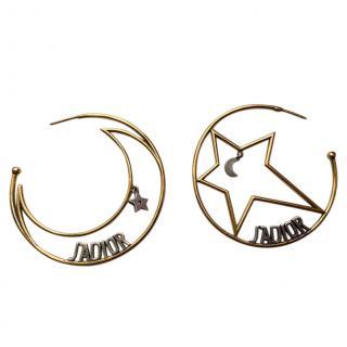 Dior J'adior Moon Hoop Earrings