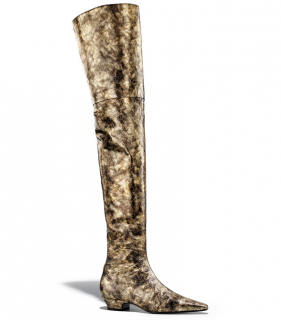 Chanel Gold & Black Soft Leather Thigh Boots