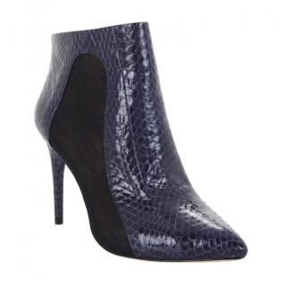 BCBG Cleo Snake-Embossed Lace Combo Boots