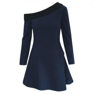 Dior Navy Structured Off-Shoulder Dress with Black Mohair Collar
