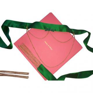 Maguy de Chadirac Green Satin Chain Waist Belt