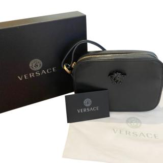 Versace Black Leather Medusa Crossbody Bag