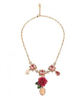 Dolce & Gabbana Floral Charm Strass Necklace