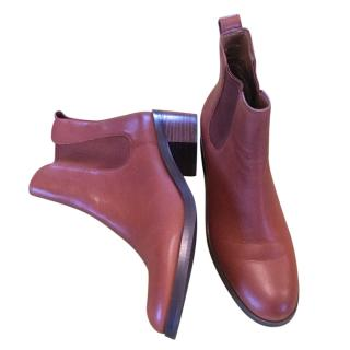Coach Leather Flat Ankle Boots