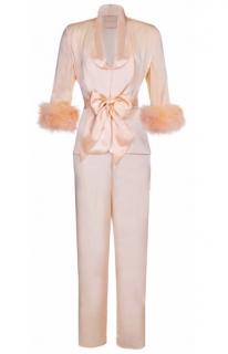Maguy de Chadirac One Shoulder Pyjamas in Peach