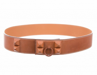 Hermes Tan Leather Shadow CDC belt
