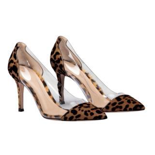 Gianvito Rossi leopard/plexi pumps