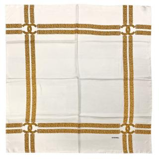 Chanel ivory & Gold silk scarf - current season