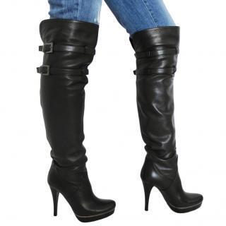 Albano Black Leather OTK Boots