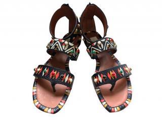 Valentino Tribal Print Gladiator Flat Sandals