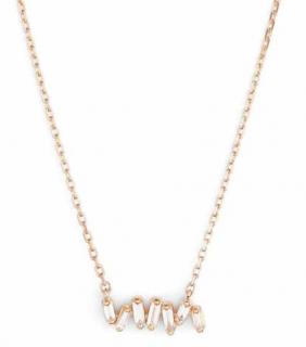 Suzanne Kalan 18K rose gold small baguette bar diamond necklace