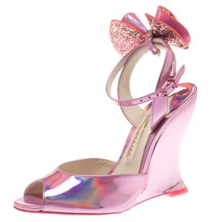 Sophia Webster Sherbet Pink Holographic Rizzo Wedge Sandals