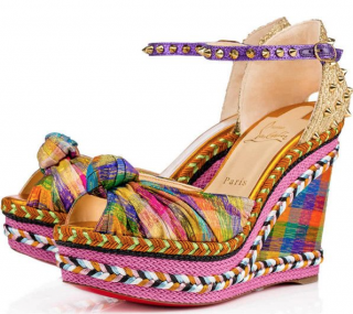 Christian Louboutin 'Madcarina' Knotted Spiked Wedge Espadrilles