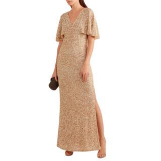 Alice & Olivia Krystina Embellished Cape Sleeve Evening Gown