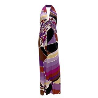 Emilio Pucci Printed Silk Jersey Halterneck Gown