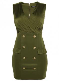Balmain Green Fitted V-Neck Sleeveless Dress